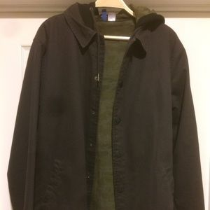 H&M GREY CANVAS COACHES JACKET WITH BLACK HOOD